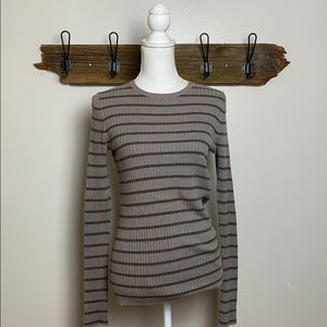 Vince Crewneck Sweater Striped Ribbed EUC